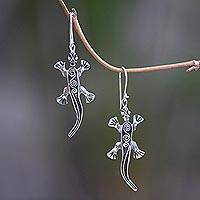 Sterling silver dangle earrings, 'Walking Lizard' - Bali Artisan Crafted Sterling Silver Lizard Earrings