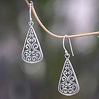 Sterling silver dangle earrings, 'Floral Fern' - Artisan Crafted Sterling Silver Ornate Dangle Earrings