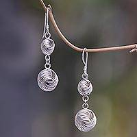 Sterling silver dangle earrings, 'Synchrony' - Contemporary Balinese Handcrafted Sterling Silver Earrings