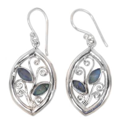 925 Sterling Silver Leaf Earrings with Rainbow Moonstone