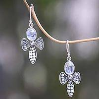 Rainbow moonstone dangle earrings, 'Bali Bees' - 925 Sterling Silver Bee Earrings with Rainbow Moonstone