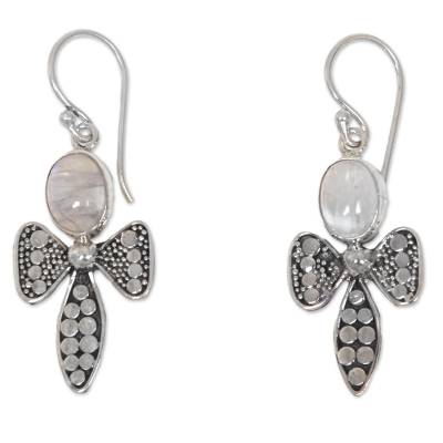 925 Sterling Silver Bee Earrings with Rainbow Moonstone