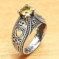 Citrine solitaire ring, 'Sukawati Sun' - Balinese Citrine Solitaire with Sterling Silver Cutouts