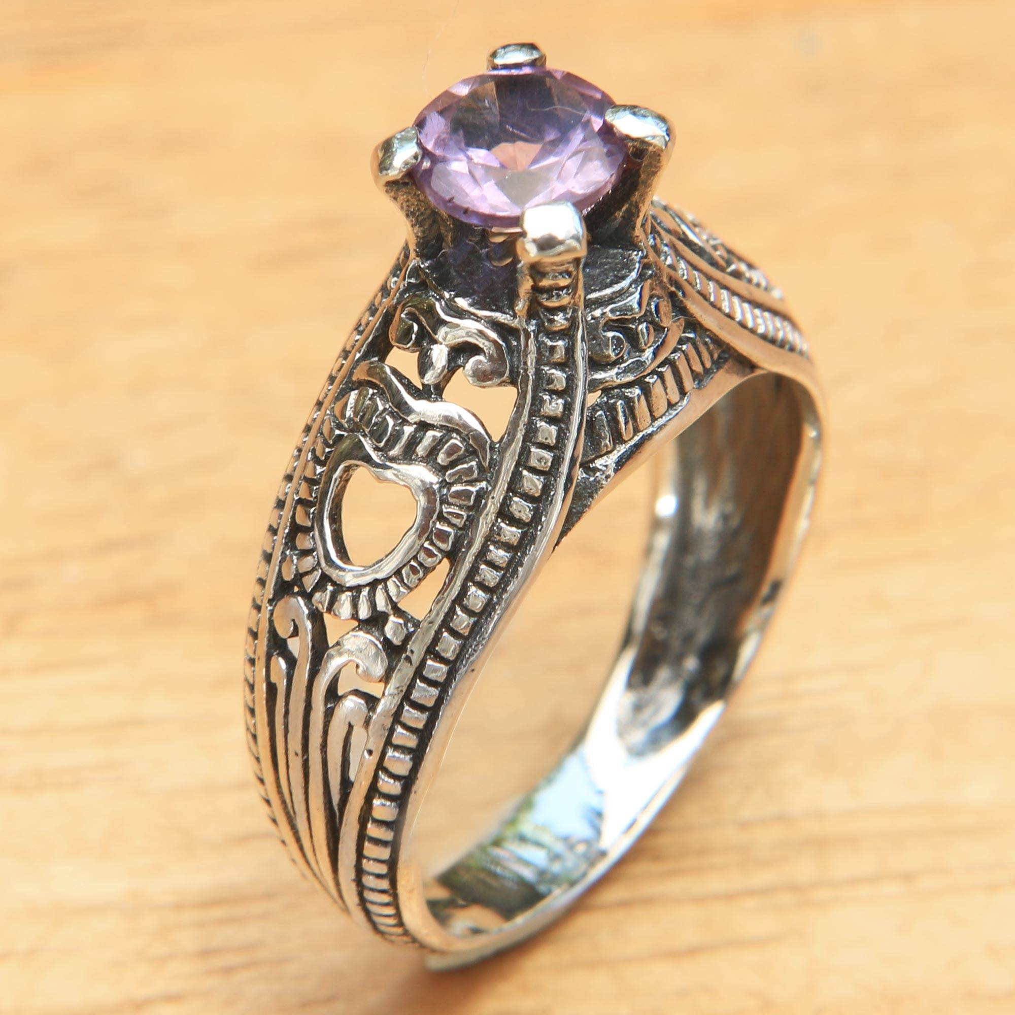 Balinese Amethyst Solitaire with Sterling Silver Cutouts ...