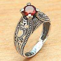Garnet solitaire ring, 'Sukawati Red'