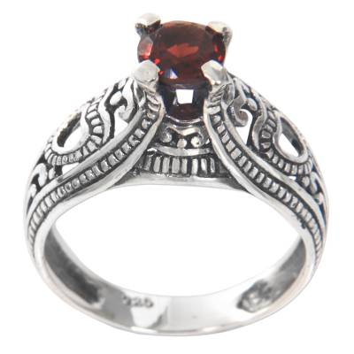 Garnet solitaire ring, 'Sukawati Red' - Balinese Garnet Solitaire Handcrafted in Sterling Silver