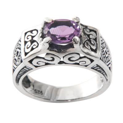 Amethyst cocktail ring, 'Noble Princess' - Amethyst Cocktail Ring in Sterling Silver with Openwork