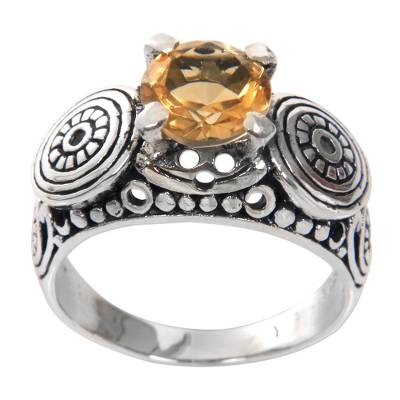 Balinese Artisan Crafted Silver and Citrine Solitaire Ring