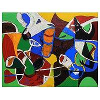 'Always Observe the Other' - Signed Modern Abstract Animal Painting from Java