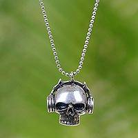 Sterling silver pendant necklace, 'Musical Skull' - Hand Made Sterling Silver Skull Pendant Necklace