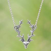 Sterling silver pendant necklace, 'Deer One' - Hand Made Sterling Silver Deer Pendant Necklace Indonesia