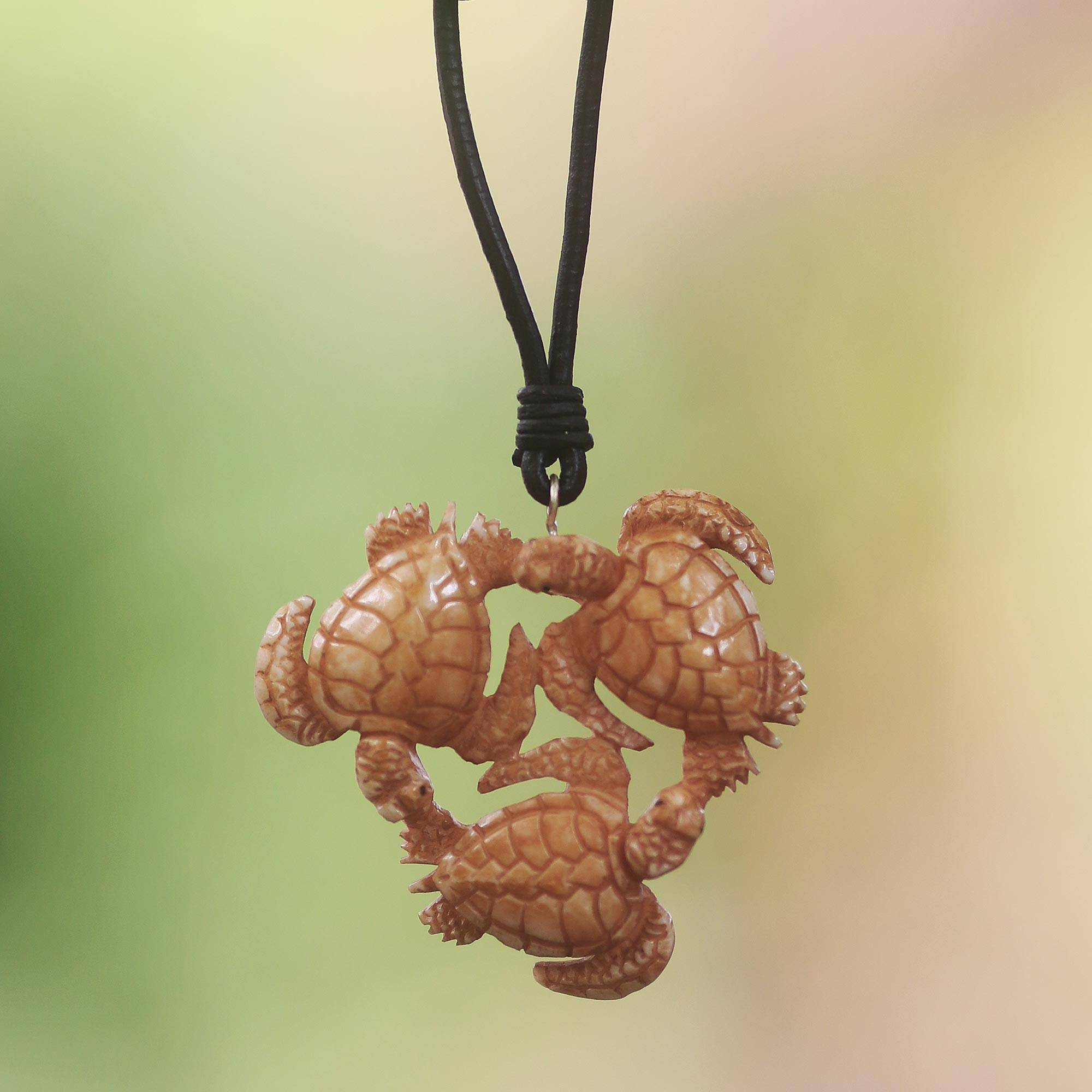 Unicef Market Hand Crafted Turtle Pendant On Leather Cord Necklace Happy Turtle