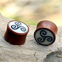 Wood body jewelry, 'Happy Swirl' - Artisan Crafted Sawo Wood and Resin Ear Gauges