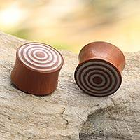 Wood ear plugs, 'Toward the Target' - Handcrafted Wood and Resin Earplug Body Jewelry