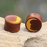 Wood ear plugs, 'Man in the Moon' - Brown Wood Earplugs with a Yellow Moon Motif