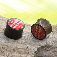 Wood ear plugs, 'Red Tribal Flower' - Red and White Floral Theme Artisan Crafted Wood Earplugs