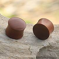 Wood ear plugs, 'Bold Style' - Smooth Brown Wood Handcrafted Earplug Body Jewelry