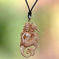 Cow bone and leather pendant necklace, 'Mermaid and Seahorse' - Artisan Crafted Leather Necklace with Mermaid Pendant