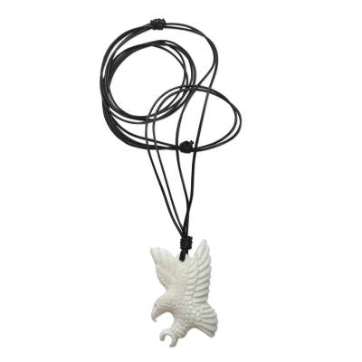 Cow bone and leather pendant necklace, 'Catch the Wind I' - Artisan Crafted Leather Necklace with Eagle Pendant