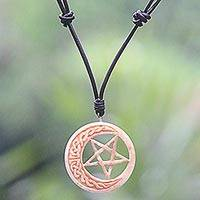 Bone and leather pendant necklace, 'Celtic Moon Star' - Hand Carved Moon and Star Necklace in Leather and Bone