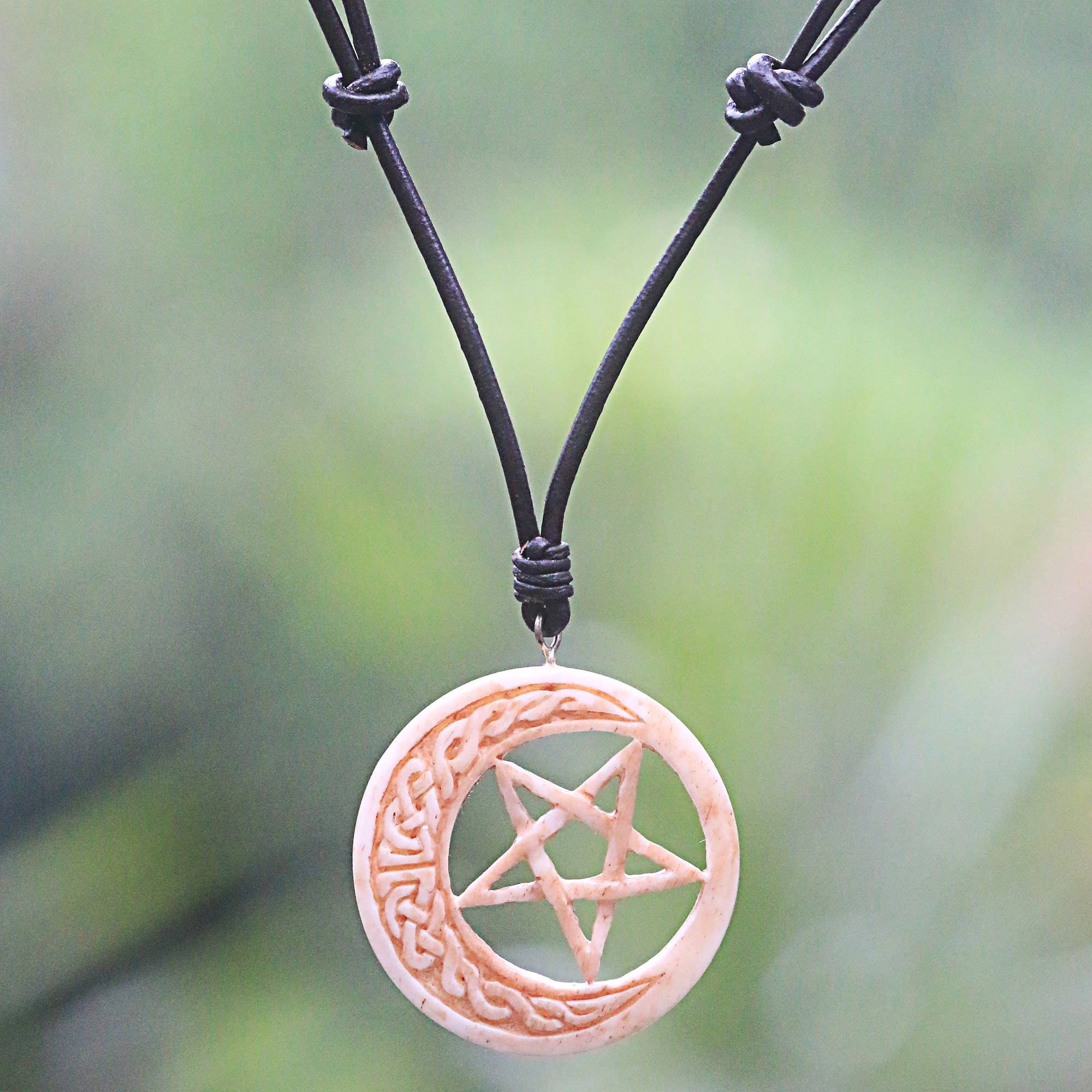 Unicef Market Hand Carved Moon And Star Necklace In Leather And Bone Celtic Moon Star