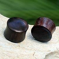 Wood ear plugs, 'Dark Shades' - Dark Wood Ear Plugs Hand Made in Indonesia