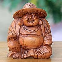 Wood sculpture, 'Happy Buddha in a Hat' - Tropical Balinese Laughing Buddha Wood Sculpture