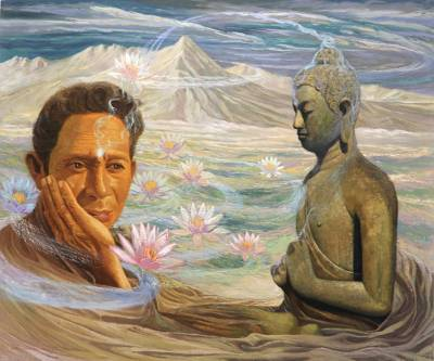 Man with Buddha and Lotus Painting Realism Art from Bali