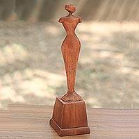 Wood statuette, 'Stand Alone' - Indonesian Hand Made Wood Statuette of Female Figure