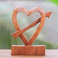 Wood statuette, 'Fall in Love' - Hand-Carved Natural Wood Heart Statuette from Bali