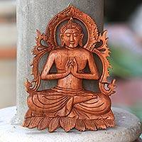 Wood wall relief, 'Buddha Holding The Jewel' - Hand Carved Wood Wall Relief Buddha from Indonesia