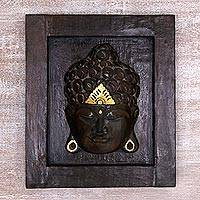 Wood relief panel, 'Head of Buddha' - Hand Made Gilded Wood Wall Panel of Buddha from Indonesia