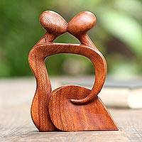 Wood sculpture, 'Abstract Kissing I' - Hand Made Romantic Wood Sculpture