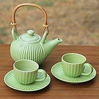 Ceramic tea set, 'Jungle Banana Leaf' (set for 2)