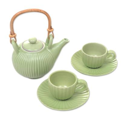 Ceramic tea set, 'Jungle Banana Leaf' (set for 2) - Green Ceramic Teapot with Cups and Saucers for 2