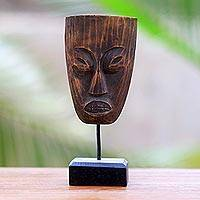 Wood statuette, 'Ancient Lombok' - Artisan Crafted Suar Wood Statuette from Bali