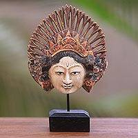 Wood mask, 'Lovely Janger Dancer' - Balinese Hand Carved Wood Janger Dance Mask