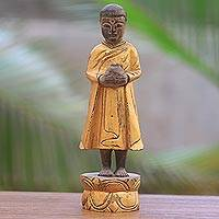 Wood sculpture, 'Jizo in Bali' - Balinese Hand Carved Buddha Theme Wood Jizo Sculpture