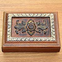 Wood jewelry box, 'Altar' - Artisan Crafted Suar Wood Jewelry Box with Floral Motif