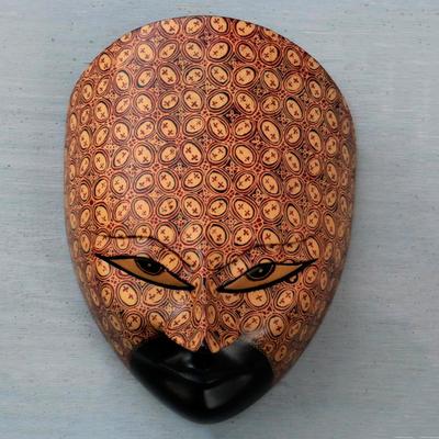 Floral Batik Handcrafted Javanese Pule Wood Mask Prince Kawung