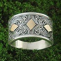 Gold accent sterling silver band ring, 'Stars Over Bali' - Balinese Style Contemporary Silver Ring with Gold Accents
