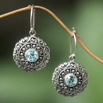 Blue topaz dangle earrings, 'Solar Flares' - Artisan Crafted Balinese Blue Topaz and Silver Earrings