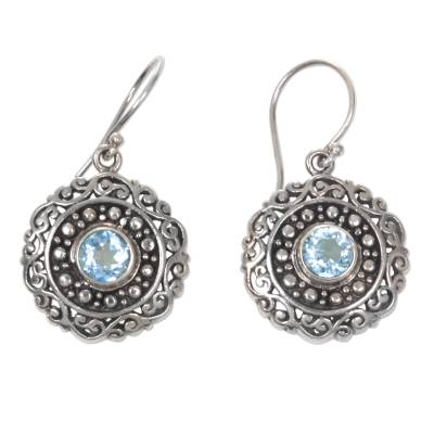 Artisan Crafted Balinese Blue Topaz and Silver Earrings