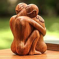 Wood sculpture, 'Embracing' - Romantic Wood Sculpture