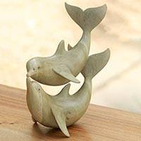 Wood sculpture, 'Dolphins in Love' - Balinese Hand Carved Dolphin Wood Sculpture