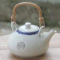 Ceramic teapot, 'Tabanan Snail' - Artisan Crafted Ivory and Blue Ceramic Teapot  from Bali