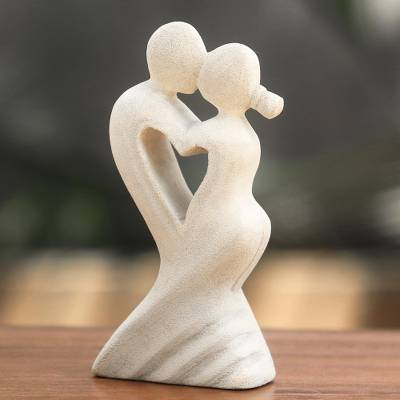Limestone sculpture, 'One Heart for Two' - Balinese Artisan Crafted Romantic Sculpture in Limestone