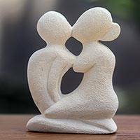 Limestone sculpture, 'Passionate Love - Hand Carved Balinese Romantic Sculpture in Limestone