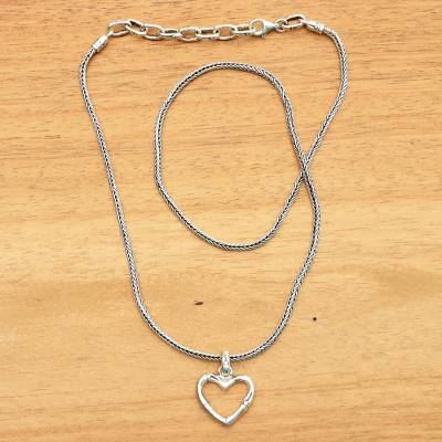 Sterling silver pendant necklace, 'Bamboo Heart' - Balinese Bamboo Motif Sterling Silver Pendant Necklace