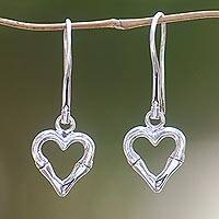 Sterling silver dangle earrings, 'Bamboo Heart' - Balinese Bamboo Motif Sterling Silver Heart Earrings